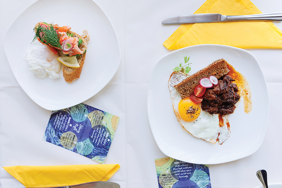 A recent Can Gogh-themed menu at the Fancy Breakfast Club featured eggs with beef brisket or poached salmon.