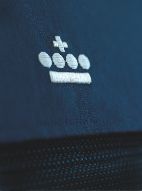 KLM's signature blue and logo.