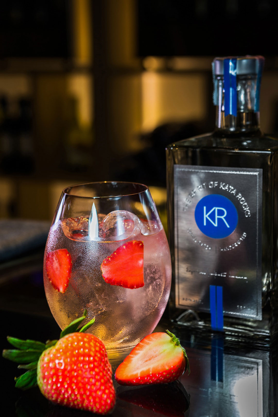 Organic Chiang Mai strawberries are featured as a natural sweetener in a Kata Rocks Gin & Tonic
