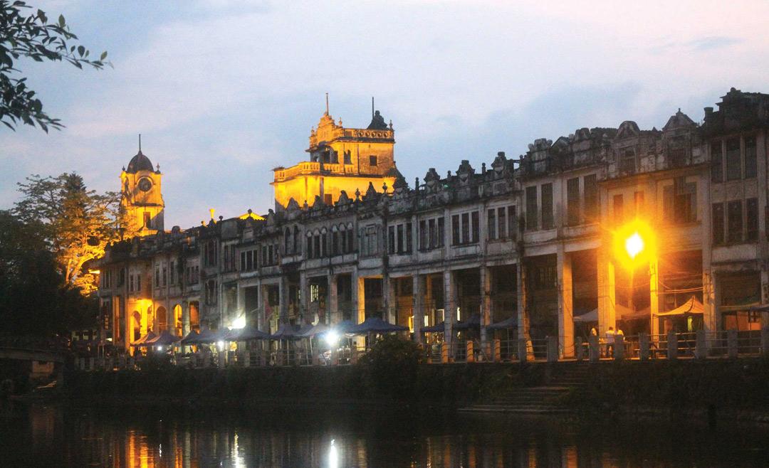 Chikan's riverfront at night.
