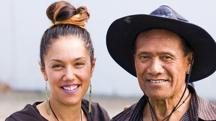 Jade Temepara with her grandfather Colin Reihana.