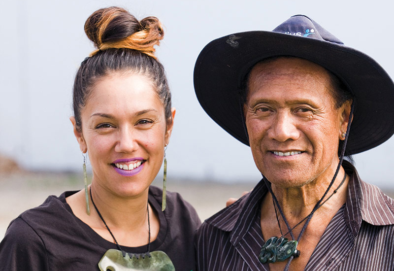 Jade Temepara with her grandfather Colin Reihana.