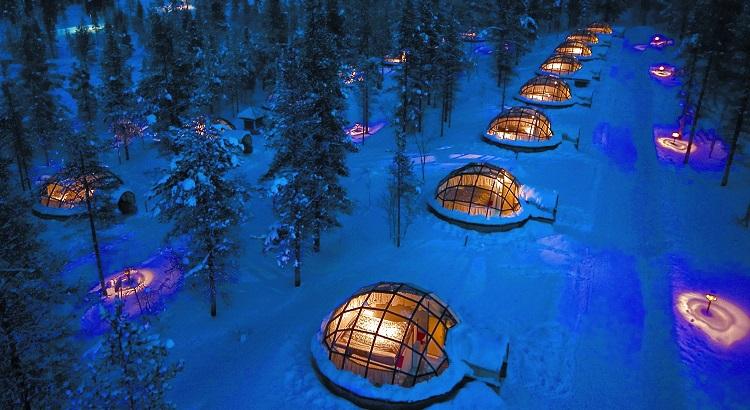 The resort's Igloo Village comprises up to 20 glass igloos. (Photo: Valtteri Hirvonen)