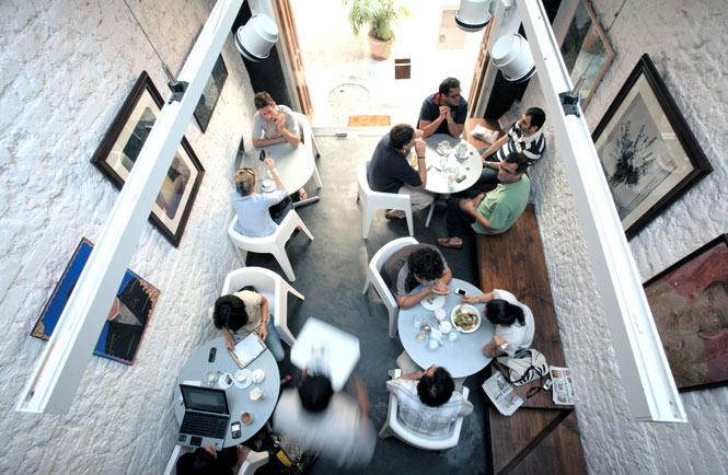 The light-filled Kala Ghoda Café, a converted barn in Mumbai.