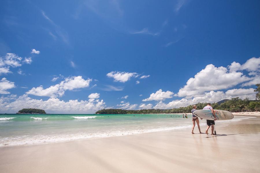 Couple enjoying Kata Noi Beach.