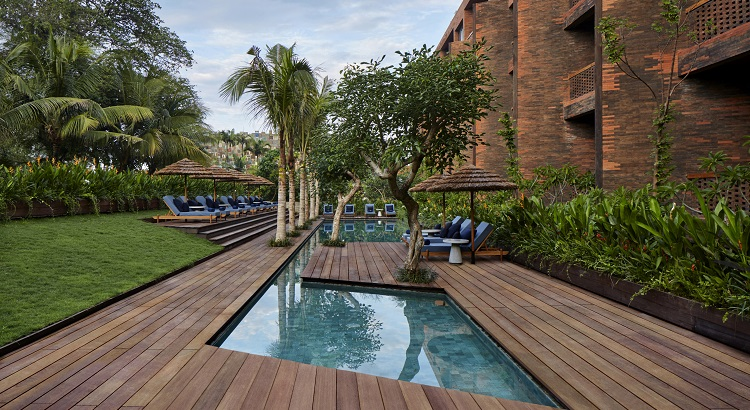 A pool area for guests to lounge around and relax.