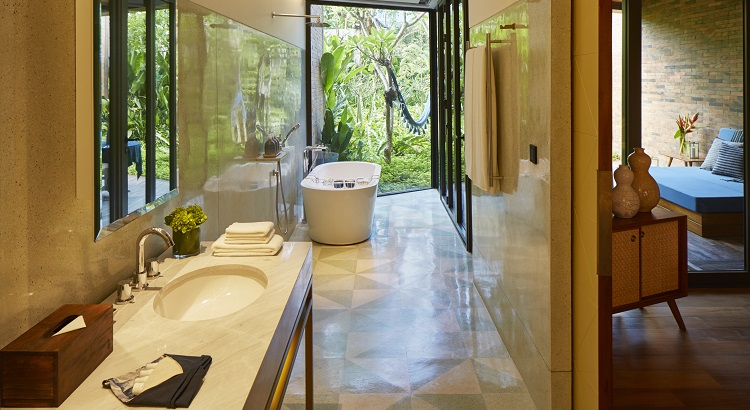 The bathroom space at Katamama's Pool Suite accommodation.