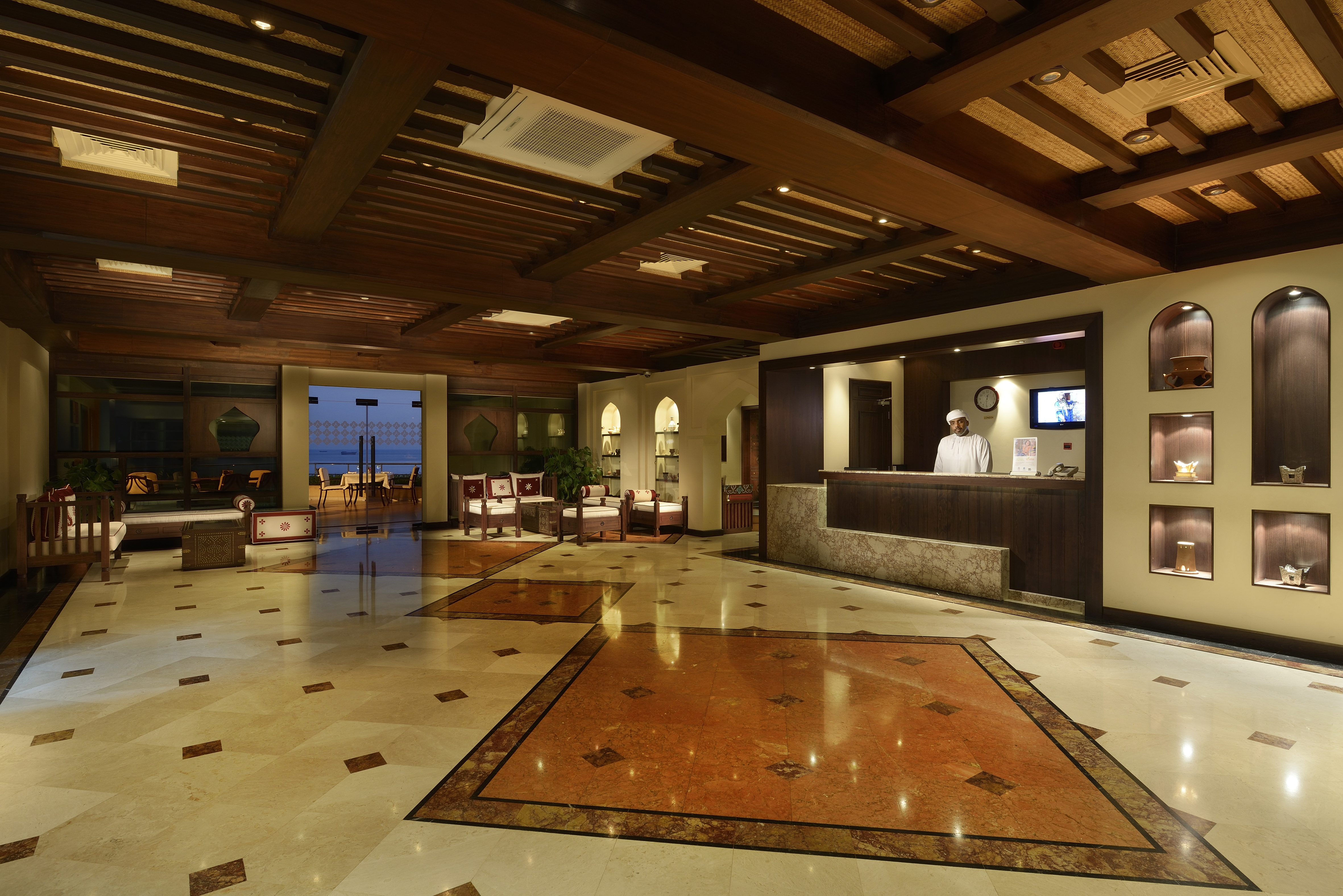 In addition to a stylish lobby, the Atana Khasab boasts a PADI dive center for those hoping to explore the waters.