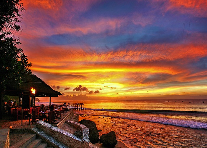 Sunset from the Ayana Resort & Spa's Kisik restaurant in Bali, this year's island destination winner.