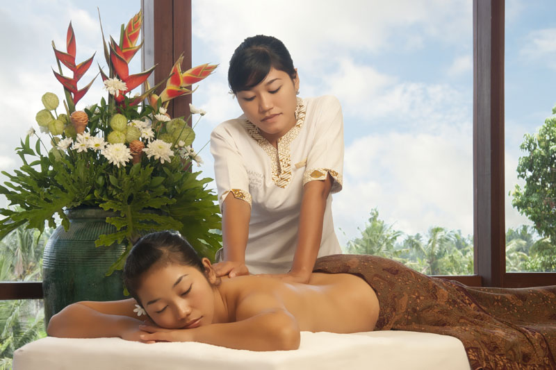 The spa offers Balinese, Swedish, and Shiatsu massage techniques.