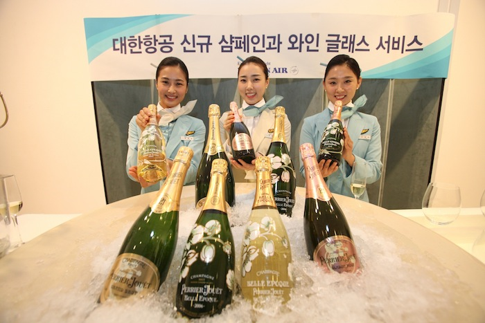Korean Air Introduces Perrier-Jouët champagne to passengers.