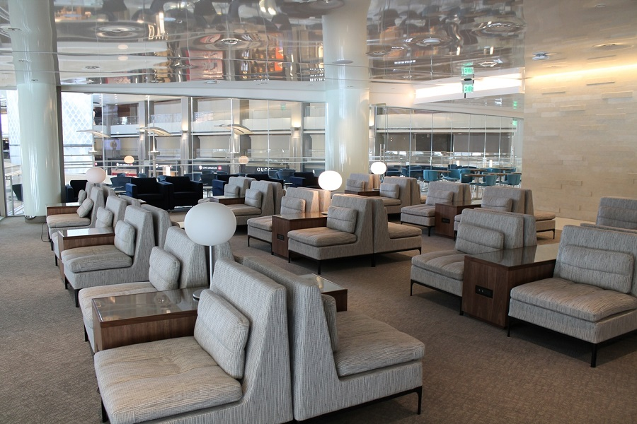 The new lounge is 68 percent larger than the previous facility, able to accommodate 135 more passengers.