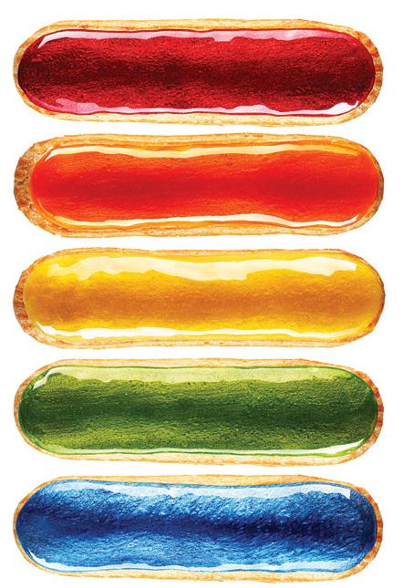 Rainbow-hued treats at L'éclair de Génie.