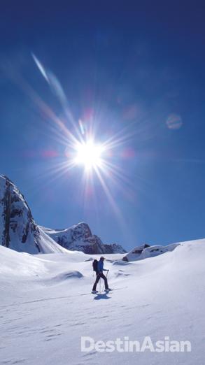 Ski touring on western Greenland's Sermersut Island.