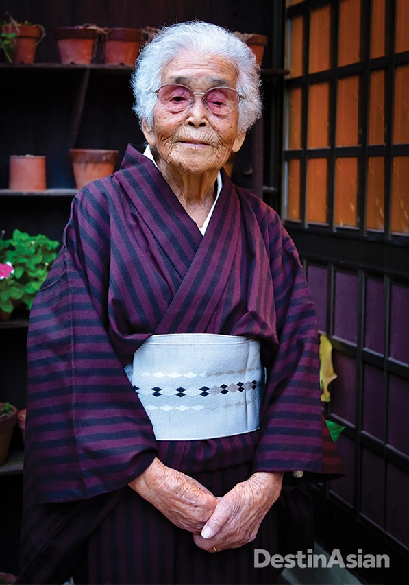 Isae Akama, a 100-year-old resident of Yo village on Amami Oshima island.