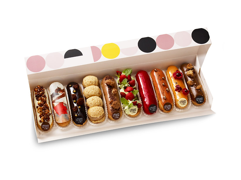 L'Eclair de Génie creates modern versions of the pastry in flavors such as passion fruit, yuzu, caramelized pecans with Madagascar vanilla cream, and pistachio and orange.
