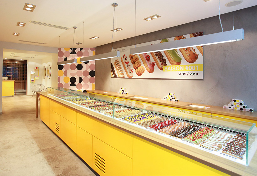 The concept éclair shop is located in the trendy Parisian neighborhood Marais.