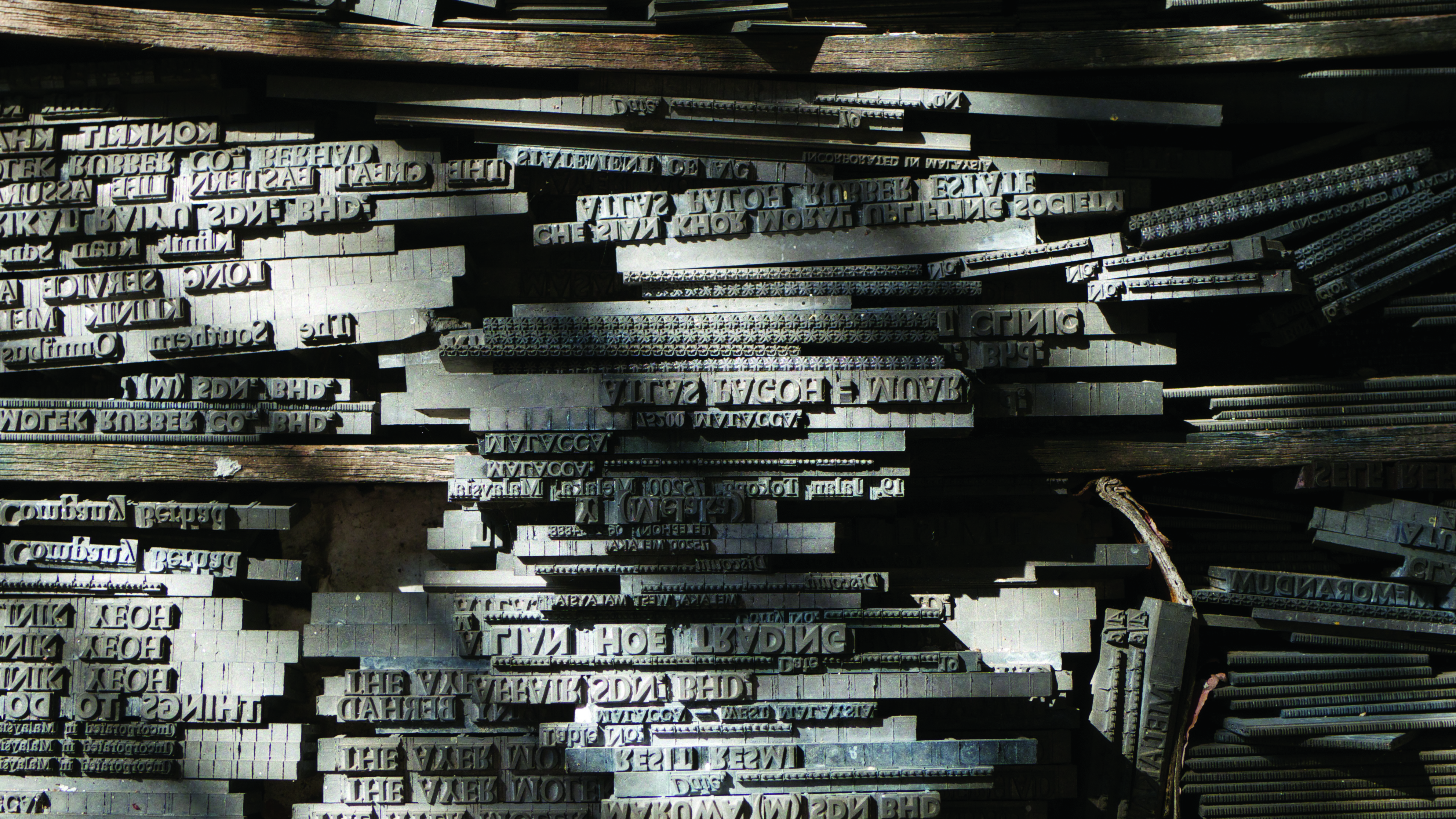 Lines of lead type produced by a Linotype machine.