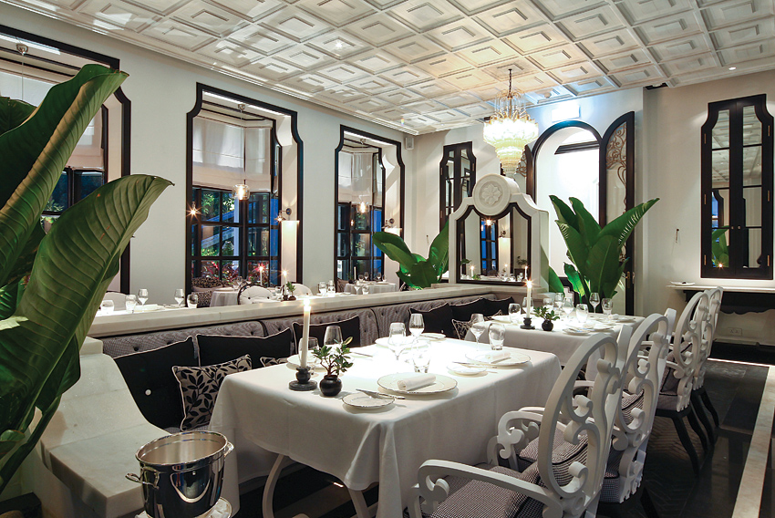 The Veranda is one of eight Bill Bensley-designed dining rooms in the restaurant.