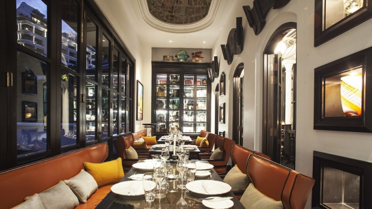 The restaurant's chic space called The Traveller's Room.