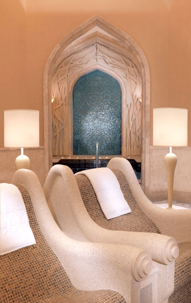 Warmed tile thrones at the Atlantis Spa.