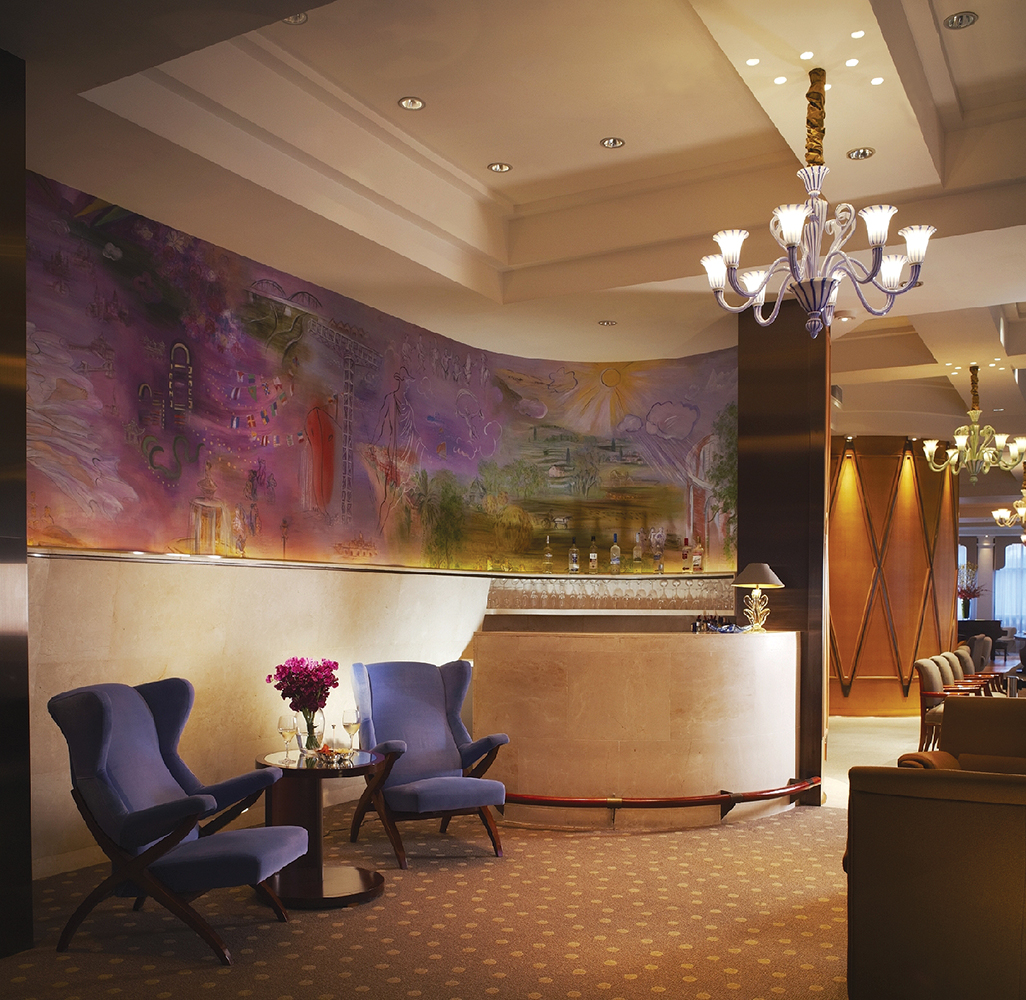 The bar area at the hotel's lounge.