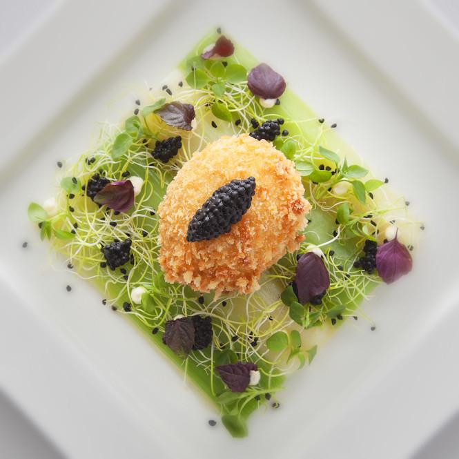 Crispy soft-boiled egg with leek vinaigrette at the Royal Savoy Brasserie du Royal