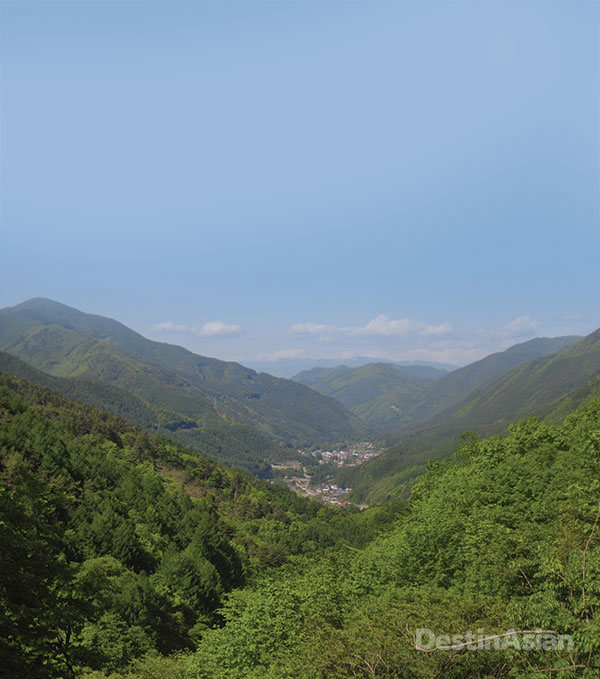 Views of Tsumago and the Magome Pass from teh hilltop ruins of Tsumago Castle, on the Kiso Road section of the Nakasendo.