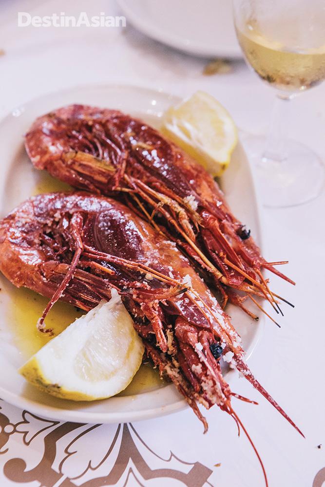 Scarlet prawns at Cervejaria Ramiro.
