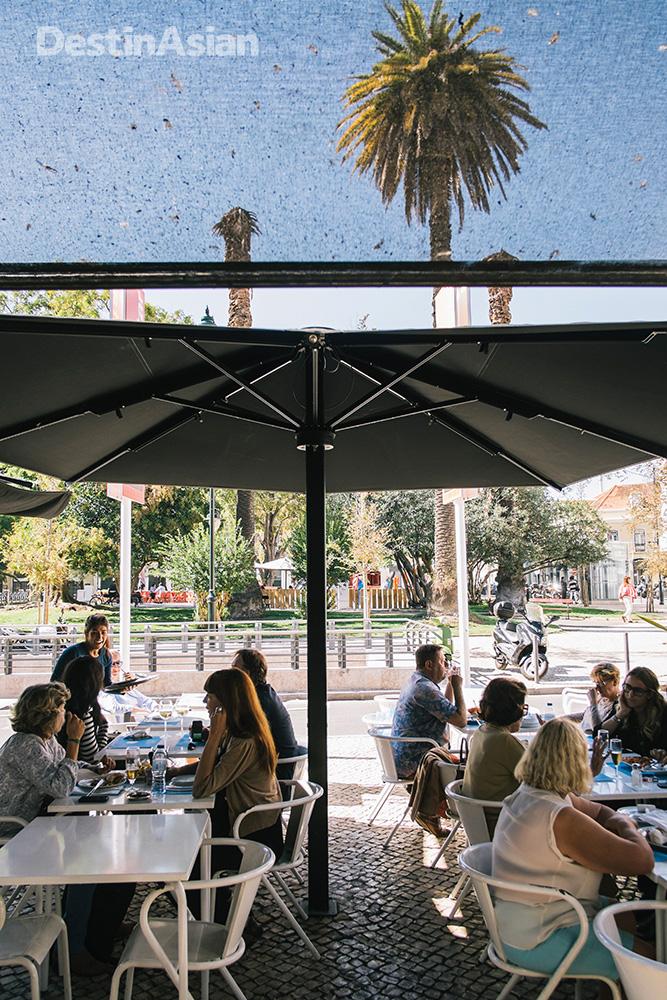 The terrace at Marisqueira Azul, a top spot for seafood at Lisbon's Mercado da Riberia.