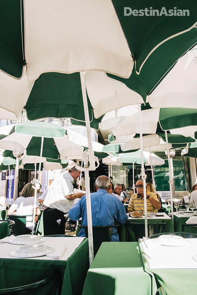 The ever-busy terrace at Pinoquio, on Lisbon's Praca dos Restauradores.