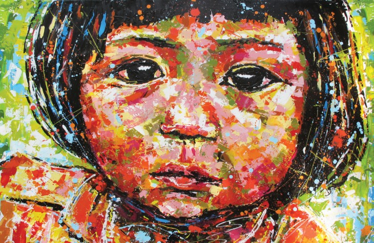 A portrait of a young girl done by Vietnamese artist Linh Ho, in residence at the Nam Hai.