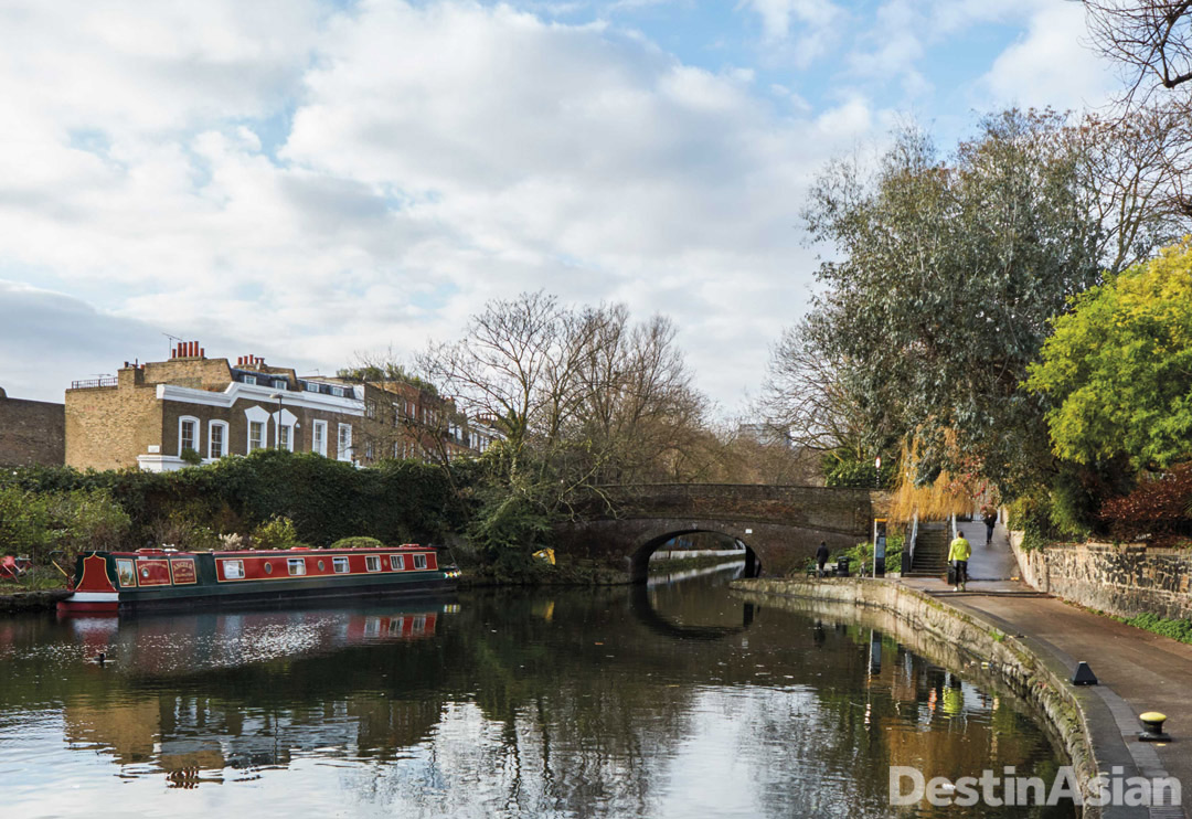 The view from Canal No. 5, an old brick pump house turned restaurant in Islington.