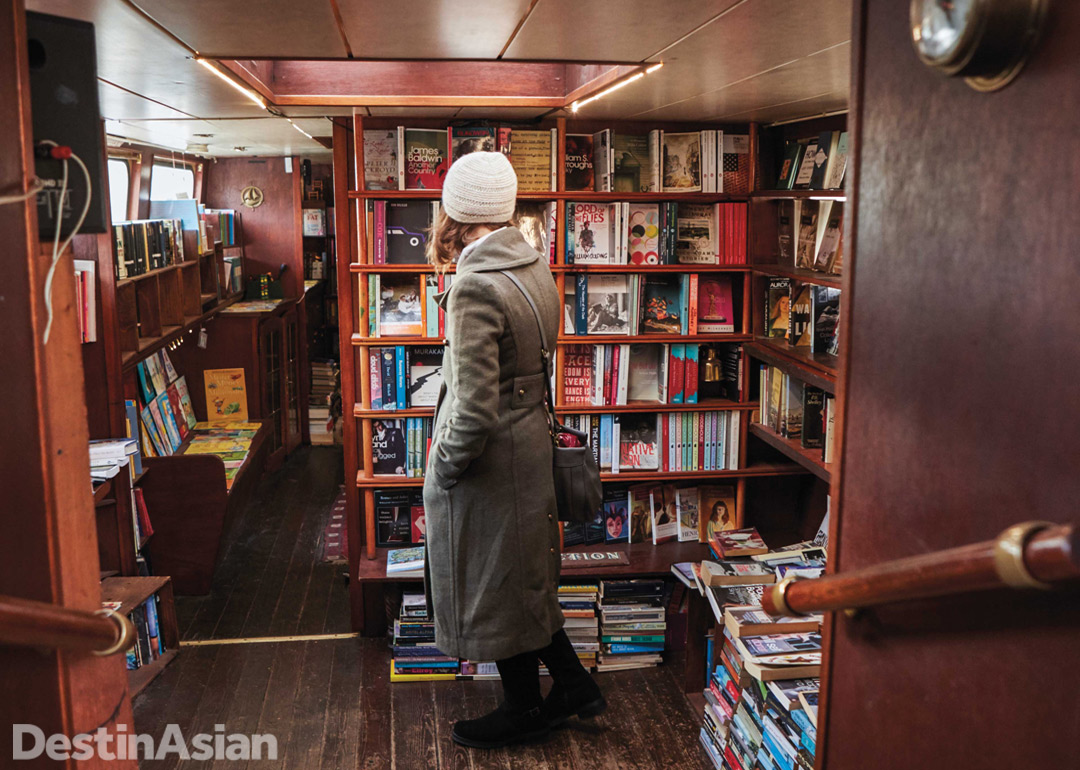 Browsing the bookshelves at Word on the Water.