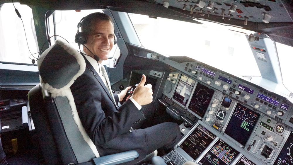 Los Angeles Mayor Eric Garcetti Experiences the Captain's Seat on the Emirates' A380 in Los Angeles.