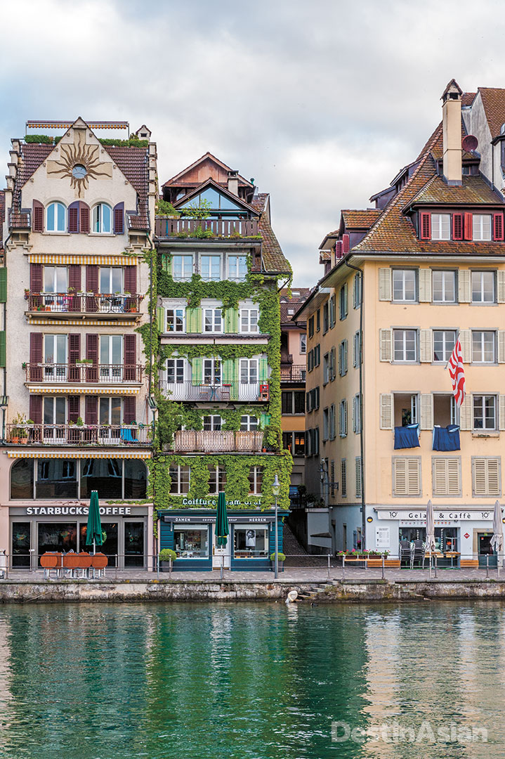 Riverfront facades in Lucerne's Old Town.
