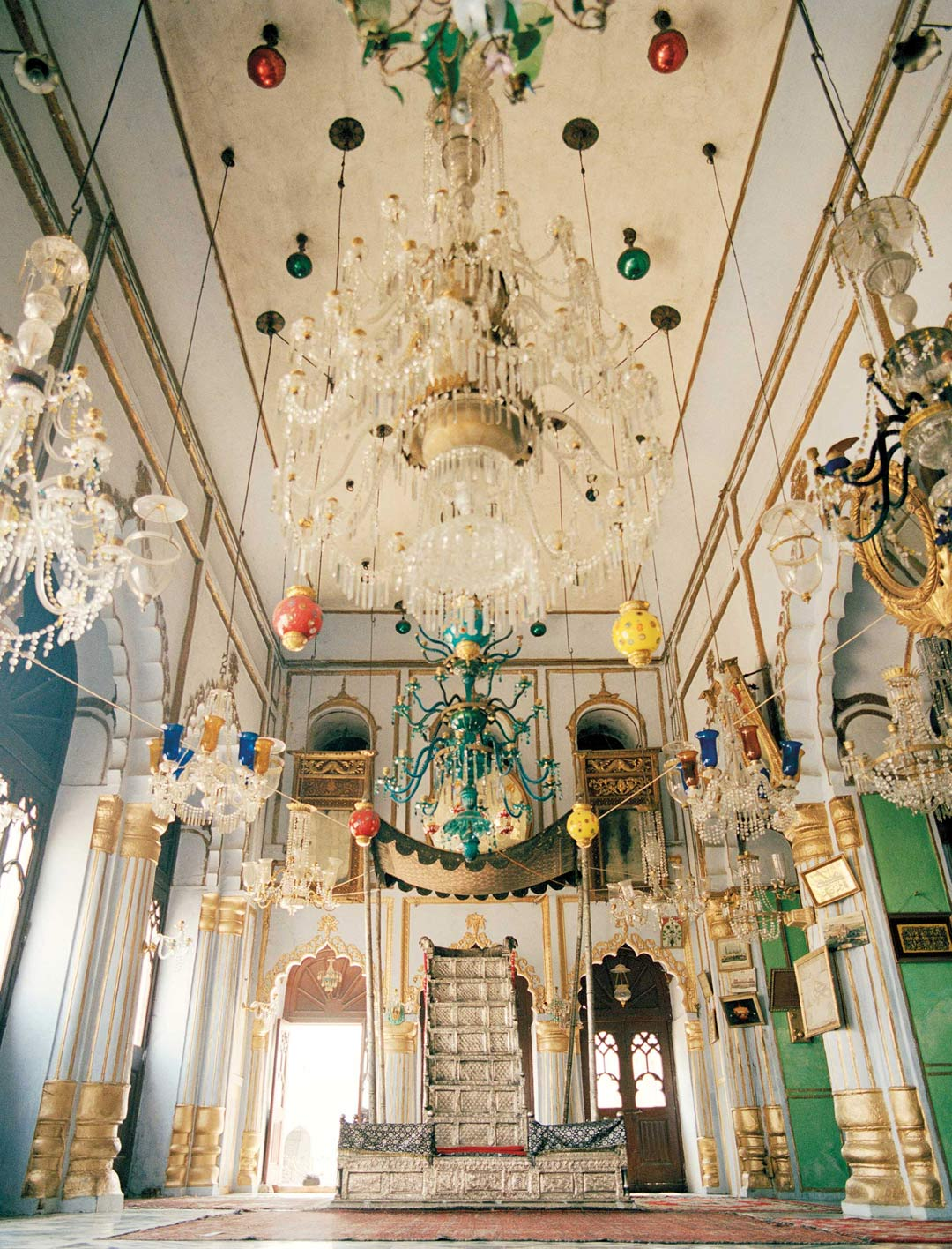 The ornate interiors of the Chota Imambara, built in 1837 as a mausoleum for the ninth Nawab of Awadh, Muhammad Ali Shah.