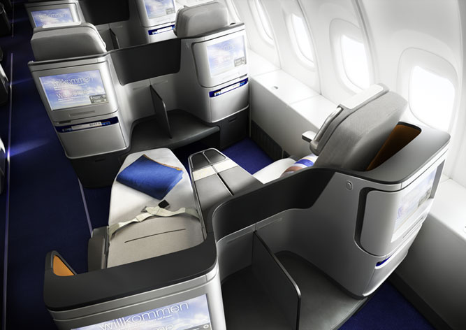The new business class seats seen from behind.