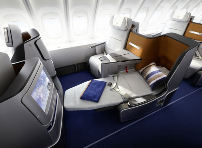 The new business class seats seen from the side.