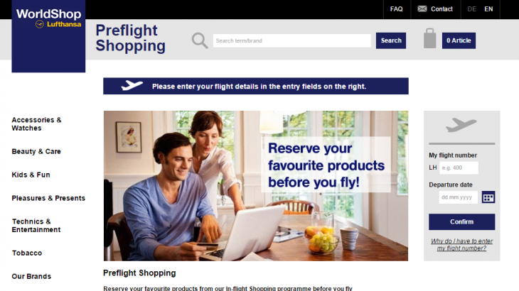 The pre-flight shopping page can be accessed from Lufthansa's website.