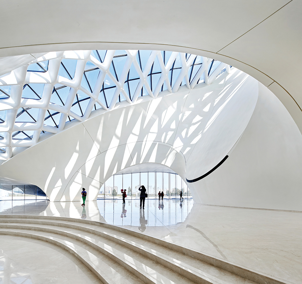 A glass ceiling in the lobby takes its inspiration from faceted ice.