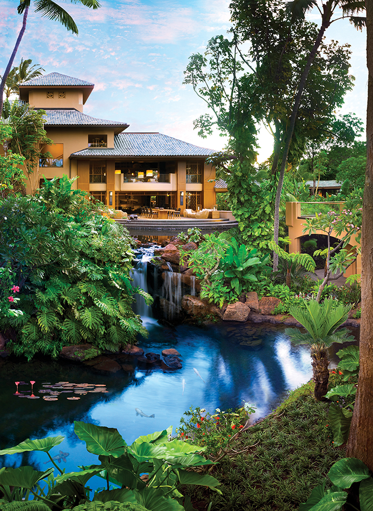 The new-and-improved resort channels the island's Hawaiian beauty into its landscape design.