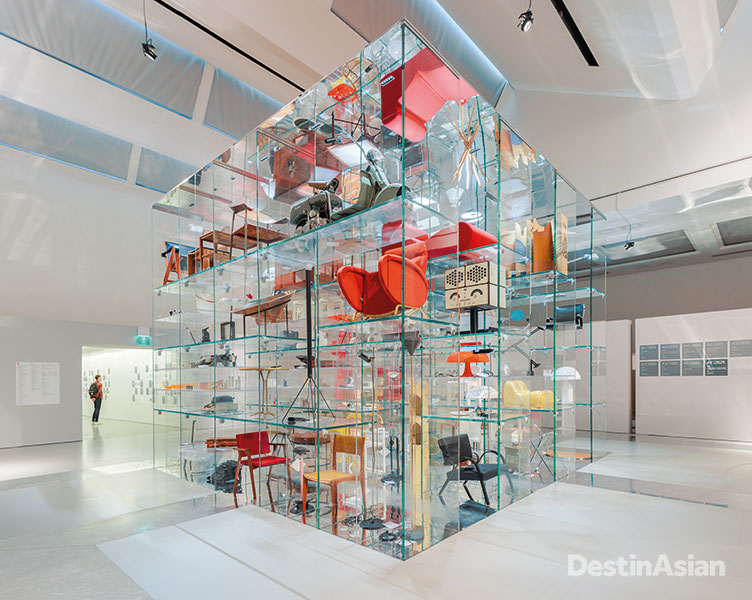 An exhibition hall at the Triennale Design Museum, which showcases contemporary Italian design.