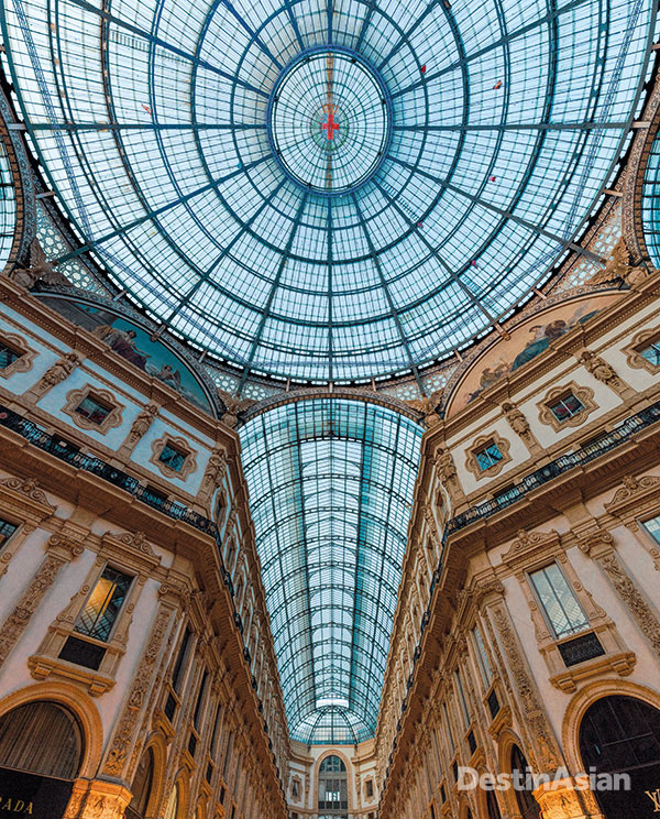 The glass-covered atrium at Galleria Vittorio Emanuele II.