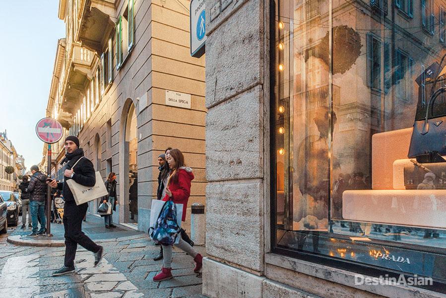 Shoppers in the Quadrilatero della Moda.