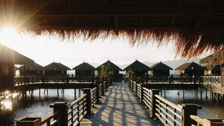 Stilted bungalows at the Royal Inle Resort, on the lake's eastern shore.