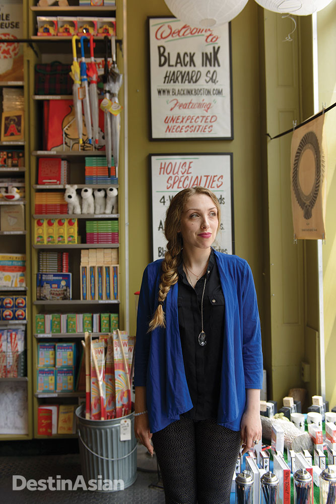 A store clerk at the Black Ink gift shop in Harvard Square.
