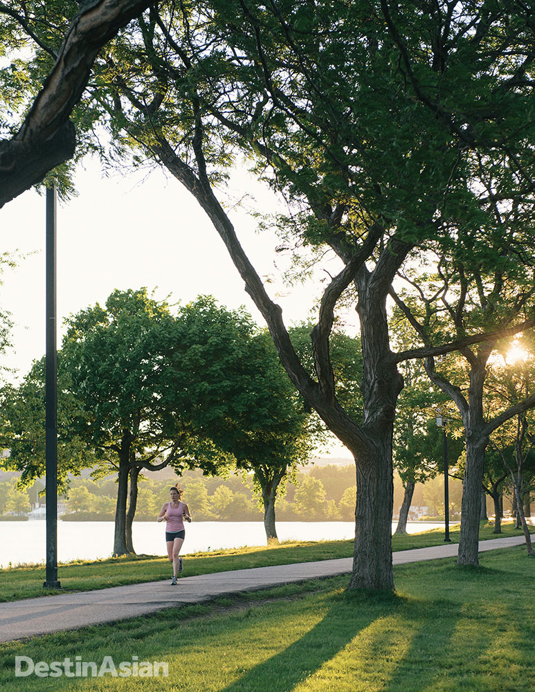 A morning jog along the tree-lined Charles River Esplanade.