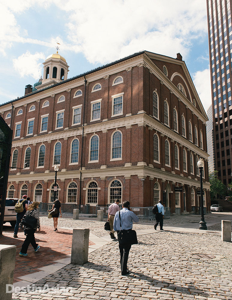 The approach to Boston's historic Faneuil Hall.