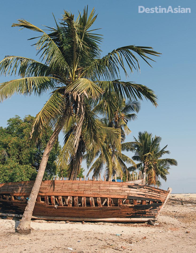 A half-built boat at a fishing village south of Morondava.